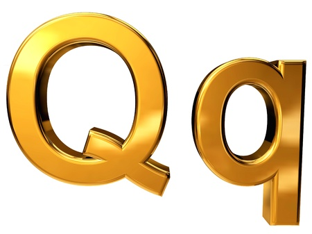 Gold letter Q upper case and lower case isolated on white background Stock Photo