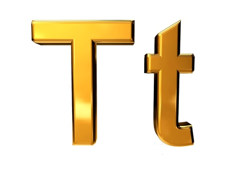 Gold letter T upper case and lower case isolated on white background Stock Photo