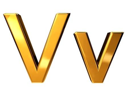 Gold letter V upper case and lower case isolated on white background