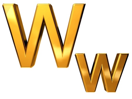 Gold letter W upper case and lower case isolated on white background Stock Photo