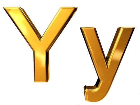 Gold letter Y upper case and lower case isolated on white background Stock Photo - 10895435