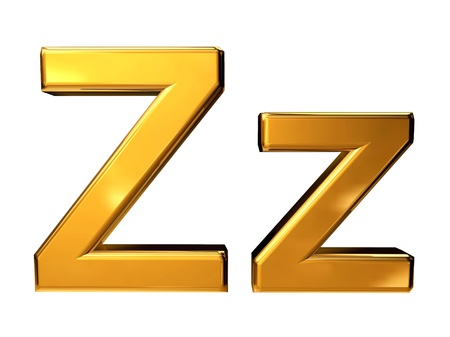 Gold letter Z upper case and lower case isolated on white background