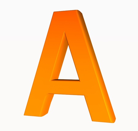 Orange alphabet. Letter A 3D isolated on white. photo