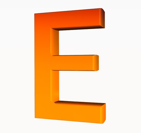 Orange alphabet. Letter E 3D isolated on white. photo