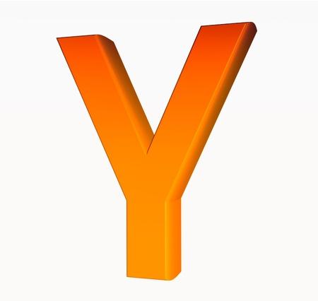 Orange alphabet. Letter Y 3D isolated on white. Stock Photo