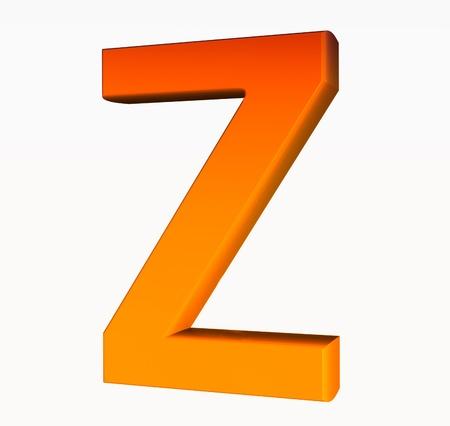 Orange alphabet. Letter Z 3D isolated on white.