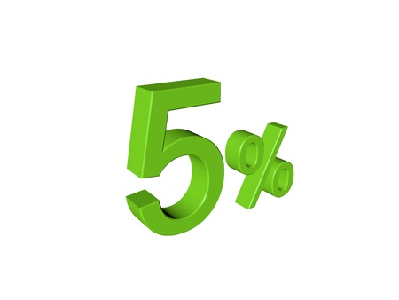 installment: 3d number 5 percent on white isolated background Stock Photo