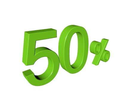 number 50: N�mero de 3d 50 por ciento en el fondo aislado blanco