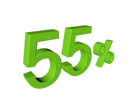 3d number 55 percent on white isolated background photo