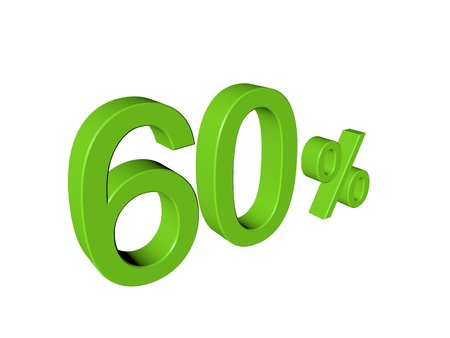 3d number 60 percent on white isolated background Stock Photo