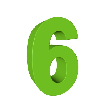 Number six on a white background photo