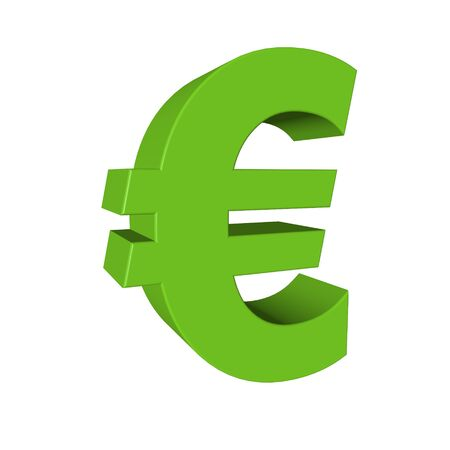 Green euro sign isolated on white photo