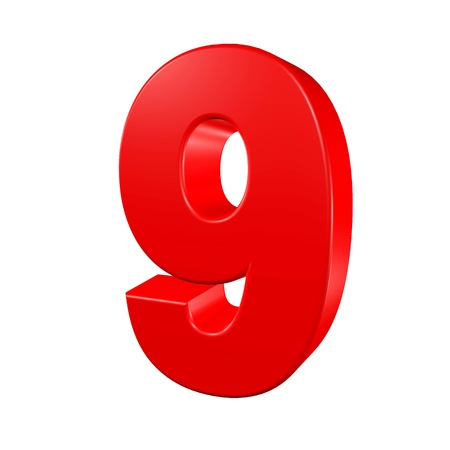 Number nine on a white background