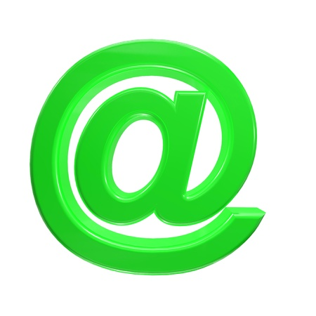 Email sign 3D isolated on white Stock Photo
