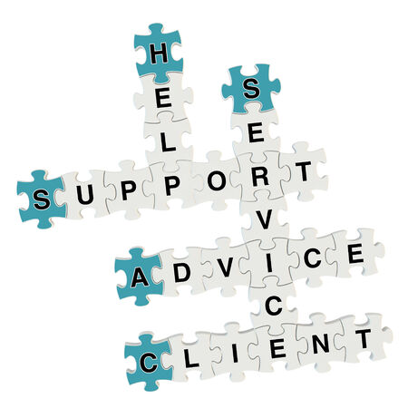 Client Advice 3d puzzle on white background photo