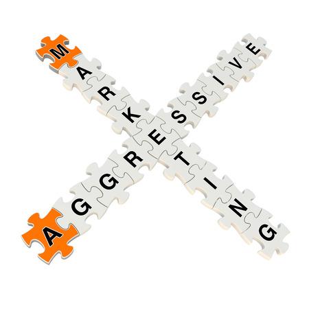 Agressive Marketing 3d puzzle on white background