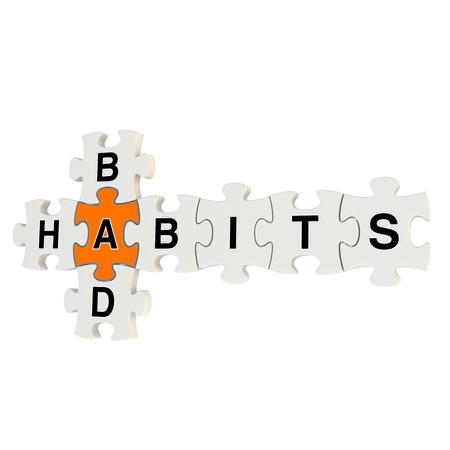 Bad habits 3d puzzle on white background