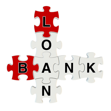 Bank loan 3d puzzle on white background Stock Photo