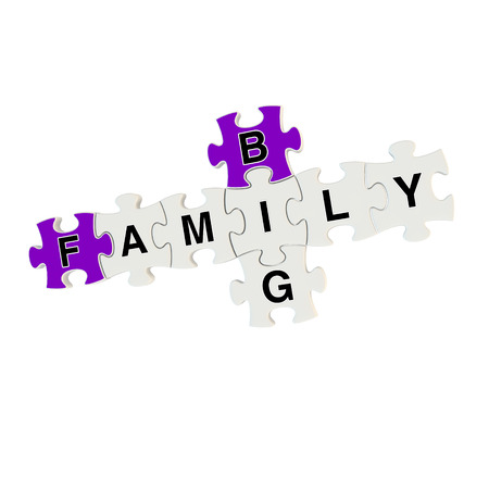 Big family 3d puzzle on white background