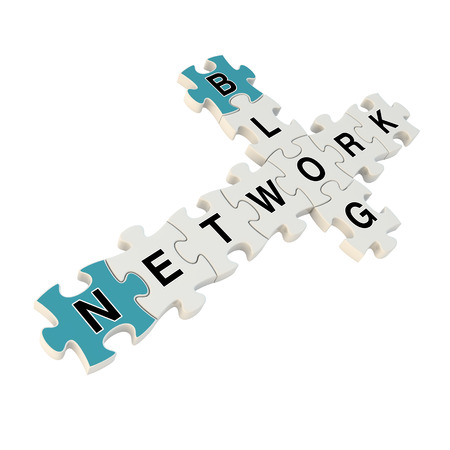 Network blog 3d puzzle on white background