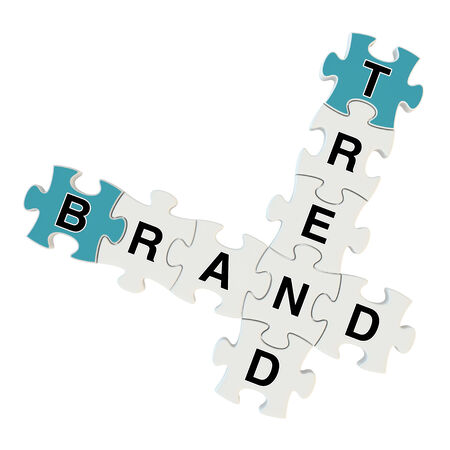 Brand trend 3d puzzle on white background Stock Photo