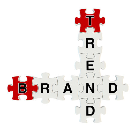 Brand trend 3d puzzle on white background photo