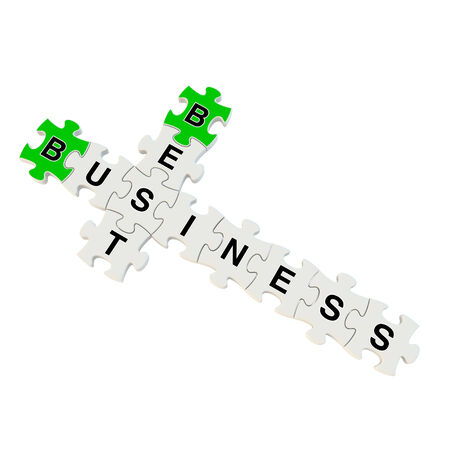 Best business 3d puzzle on white background Stock Photo