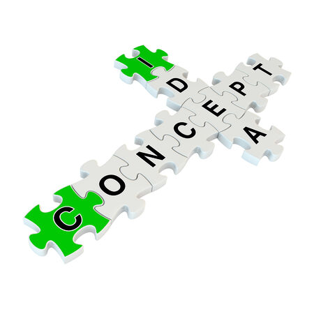 incertitude: Concept idea 3d puzzle on white background