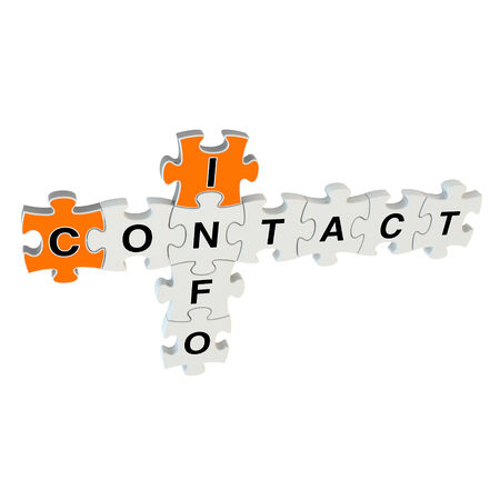 Contact info 3d puzzle on white background