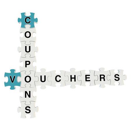 Vouchers 3d puzzle on white background