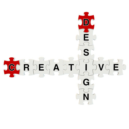 Creative design 3d puzzle on white background