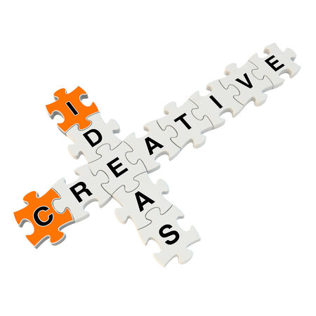 Creative ideas 3d puzzle on white background Stock Photo