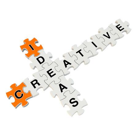 obtain: Creative ideas 3d puzzle on white background Stock Photo