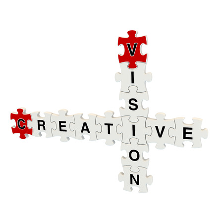 Creative vision 3d puzzle on white background