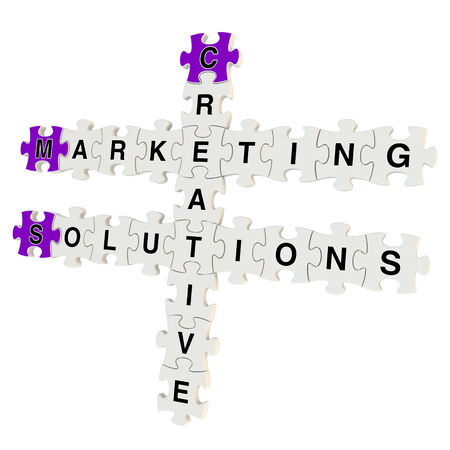 Marketing solutions 3d puzzle on white background