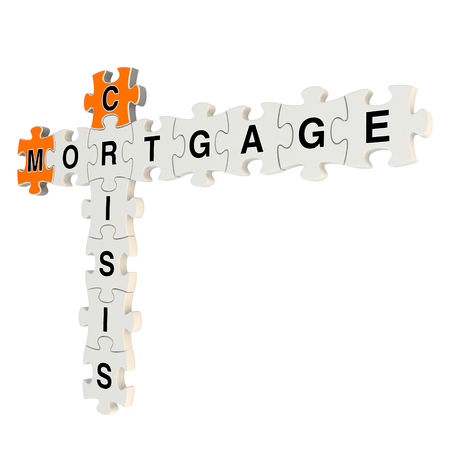Crisis mortgage 3d puzzle on white background