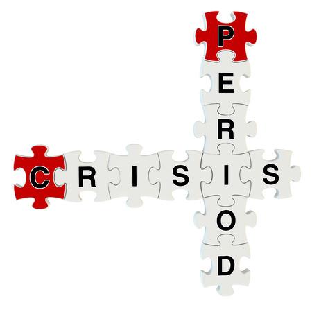 slump: Crisis period 3d puzzle on white background
