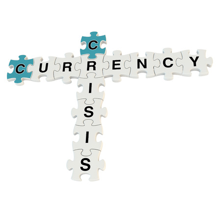 Crisis currency 3d puzzle on white background