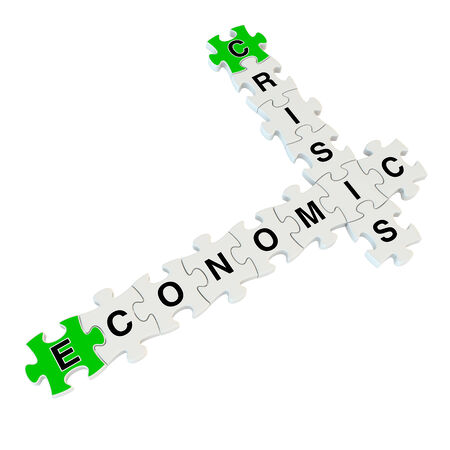 Crisis economic 3d puzzle on white background Stock Photo