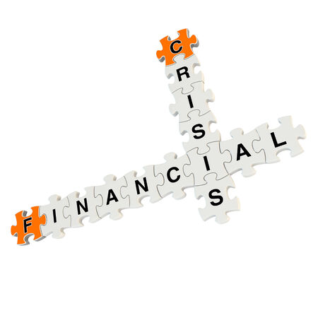 Financial crisis 3d puzzle on white background Stock Photo