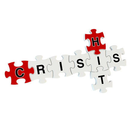 Crisis hit 3d puzzle on white background