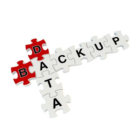 Data backup 3d puzzle on white background photo