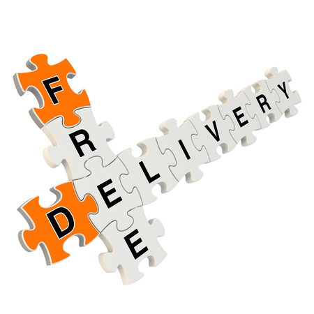 Free delivery 3d puzzle on white background