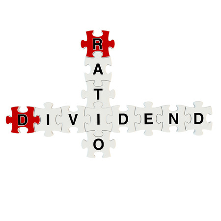 Dividend ratio 3d puzzle on white background