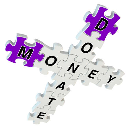 Donate money 3d puzzle on white background