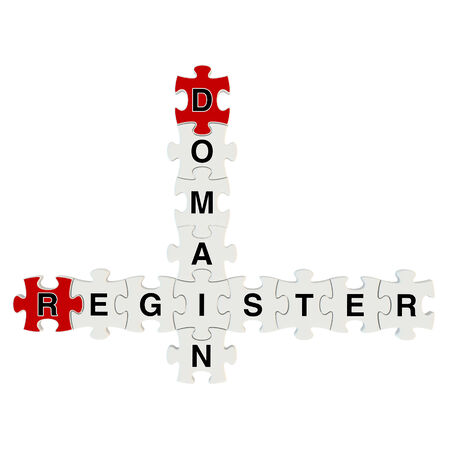 Domain register 3d puzzle on white background Stock Photo