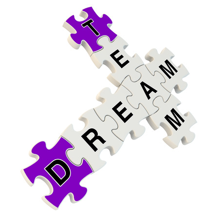 Dream team 3d puzzle on white background