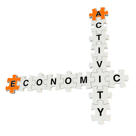 Economic activity 3d puzzle on white background Stock Photo