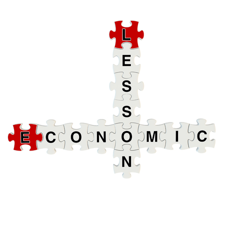 Economic lesson 3d puzzle on white background photo