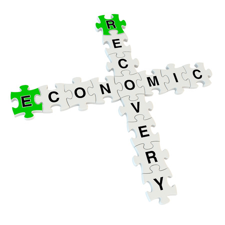 economic recovery: Economic recovery 3d puzzle on white background Stock Photo